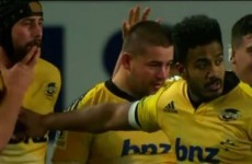 Rugby player goes in for high five, accidentally slaps himself in the face