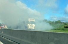 A truck is on fire on the main Galway to Dublin road