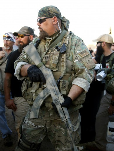 "Bikers armed with assault rifles tried to hold a ""Mohammed cartoon contest"" outside a mosque"