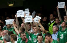 'Delaney Out' is the message from Irish fans at the Aviva