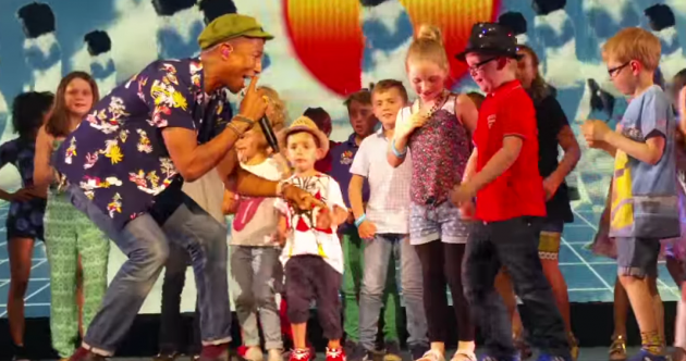 Dad goes absolutely mental as his son dances with Pharrell
