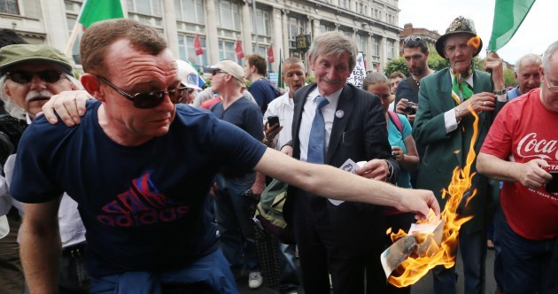 Bills burned, Greek flags flown as water charge protests return to Dublin