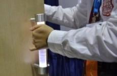 This futuristic bathroom door handle has a trick up its sleeve