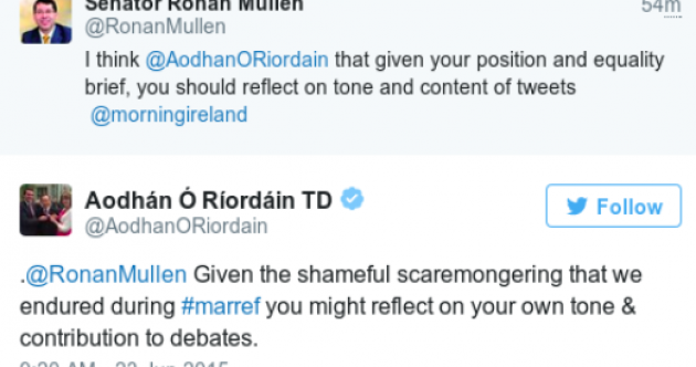 Aodhán Ó Ríordáin and Rónán Mullen are having a bit of a row on Twitter
