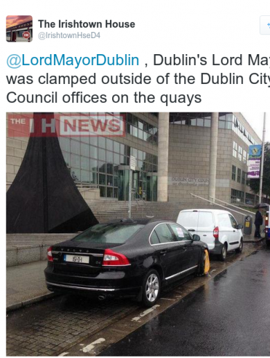 Dublin Lord Mayor's car clamped… outside city council offices