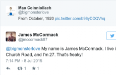 This Twitter interaction between two Dublin men contains the freakiest coincidence…