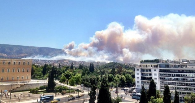 A large-scale wildfire is blazing just outside Athens