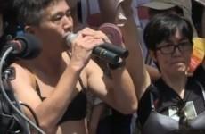 Bra-wearing men protest over Hong Kong 'breast assault' conviction