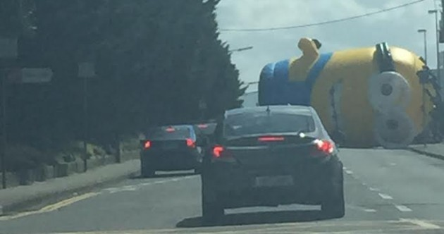 A giant inflatable Minion flew loose and caused traffic havoc in Santry