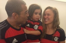 It looks like Ronda Rousey and Jose Aldo are now football friends