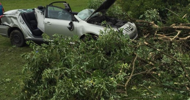 Amazingly, no-one was seriously hurt when this car smashed into trees
