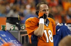 Peyton Manning takes precautions when he's in the Patriots' locker room cos he thinks it's bugged