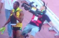 Usain Bolt was flattened by a cameraman on a Segway after his 200m win
