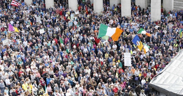 'We're not going away': Crowds brave awful weather to keep water charges issue live