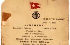 A menu saved from the 'millionaires lifeboat' off the sinking Titanic is going to auction