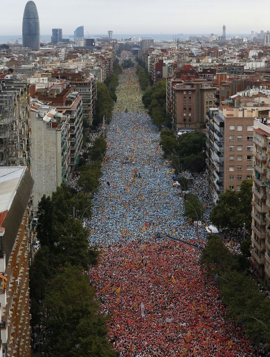 WATCH: More than one million people hit the streets to demand Catalan independence