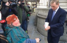 'The street is a cold place' Enda Kenny gives coffee to man protesting outside Dáil