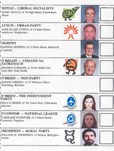 This is the new ballot paper you'll be using at the next election