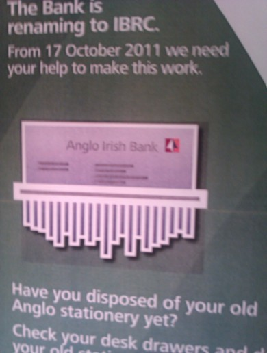 Anglo Irish Bank… in the shredder
