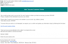 Revenue warns internet users over fake email 'tax refund' scam