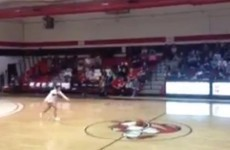 VIDEO: Check out this cheerleader make a front-flip, half-court shot last night