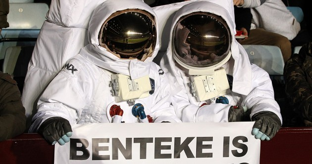 Snapshot: There are 2 astronauts at Villa Park proclaiming their love for Christian Benteke