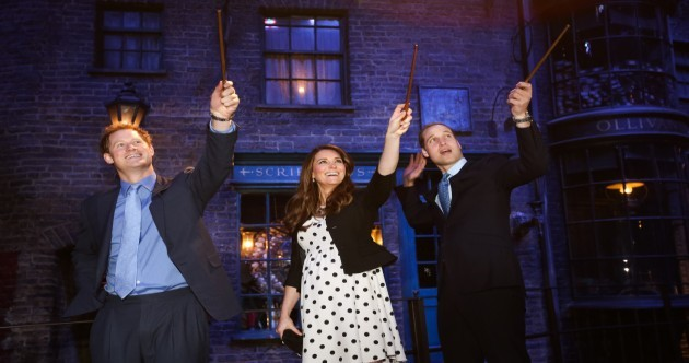 Here are Harry, William and Kate playing Harry Potter
