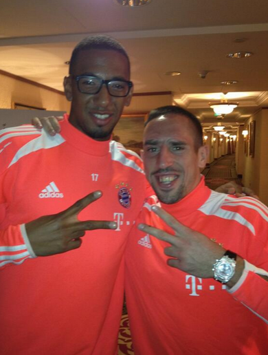 It looks like Jerome Boateng and Franck Ribery are besties again following beer incident