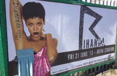 Someone has been stapling dresses to Rihanna's naked Dublin billboards
