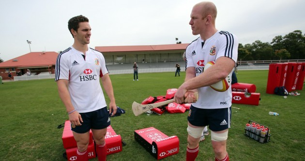 In pictures: Irish Lions show George North how to hurl in Brisbane