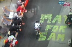 Someone has scrawled 'Mayo for Sam' on the road at the Tour de France