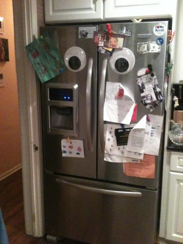 I put giant googly eyes on my fridge thinking it would be funny... Now I just feel like it's judging my eating habits. - Imgur