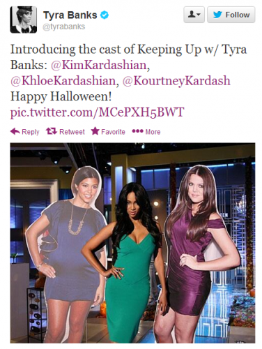 Tyra Banks dressed up as another pretty brunette for Halloween. BORING.