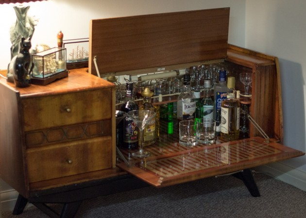 Stocked drinks cabinet