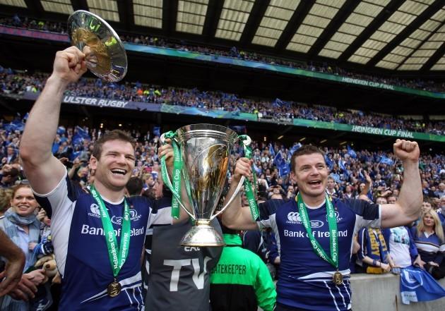 Gordon D'Arcy and Brian O'Driscoll celebrate