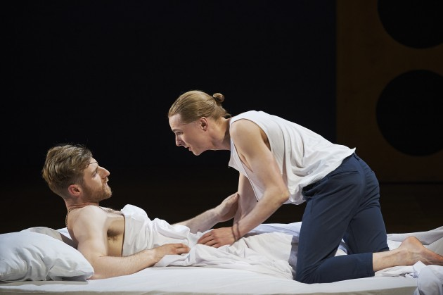 (L-R) Conor Madden and Gavin Fullam in Abbey Theatre's new production of Twelfth Night by William Shakespeare. Pic  Ros Kavanagh