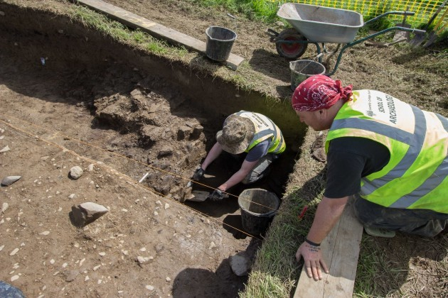 Investigating the ditch in Trench 1