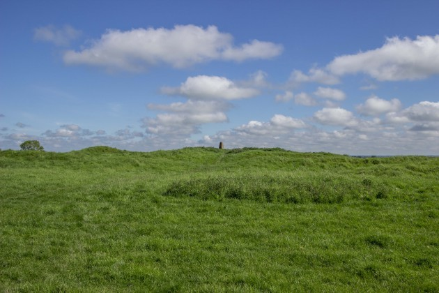 The earthworks showing banks and ditches of the visible monument