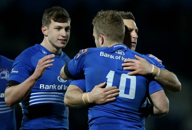 Ian Madigan and Jimmy Gopperth celebrate at the final whistle