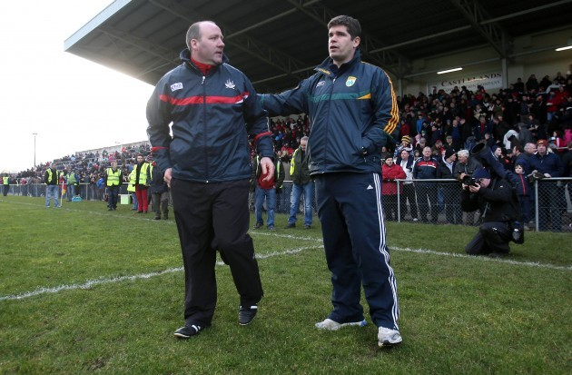 Brian Cuthbert and Eamonn Fitzmaurice at the end of the game