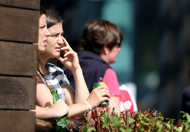 Katie Taylor watches the game