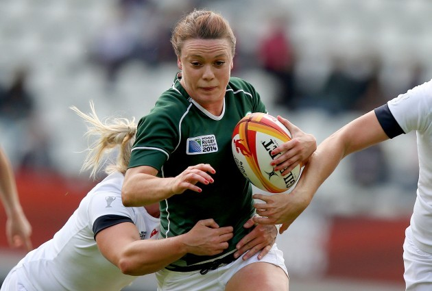Lynne Cantwell tackled by Victoria Fleetwood