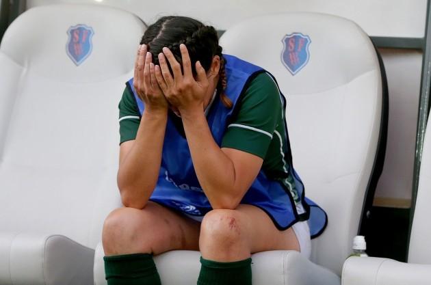 A dejected Tania Rosser