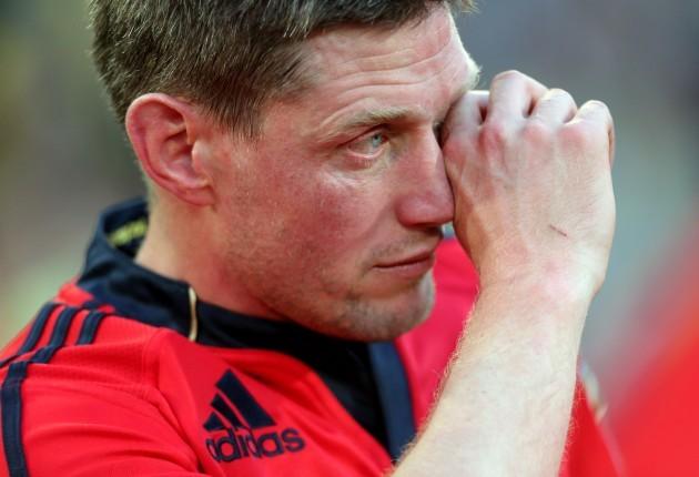 Ronan O'Gara dejected after the game