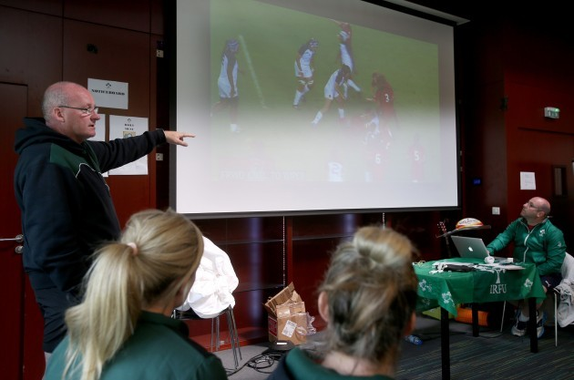 Philip Doyle talks to the players