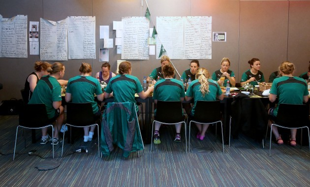 General view of the team having breakfast