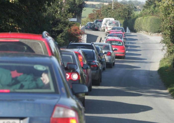 24/9/2008. Ploughing Championships Day 2. Traffic jams outside Bennettsbridge as people try to get to the second day of the National Ploughing Championships, in Burnchurch in County Kilkenny. Photo: Eamonn Farrell/Photocall Ireland.