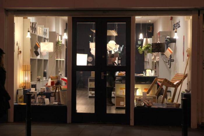 shop exterior night