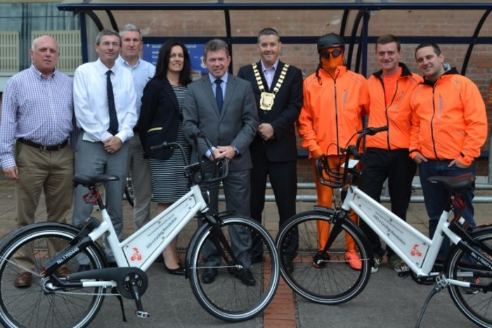 Sean O'Hara Eddie Taffee Tony O'Grady Laura Leonard all SDCC Daniel McLoughlin CE SDCC Mayor Gogarty John Mills BleeperBike Barry Clark BleeperBike Hugh Cooney CEO BleeperBike