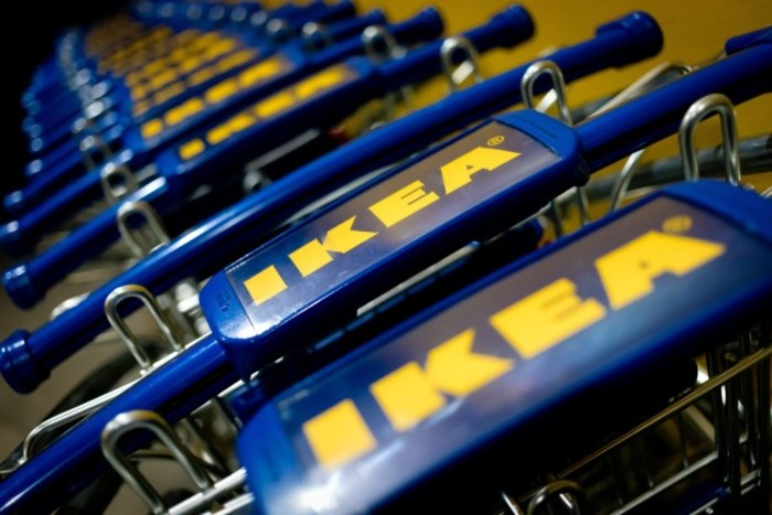 Corporate logo Ikea at carts